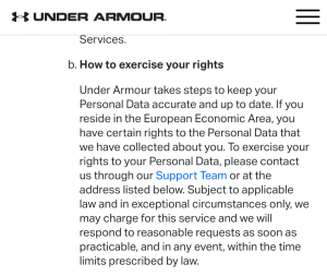 Note about how to exercise your GDPR rights in MyFitnessPal